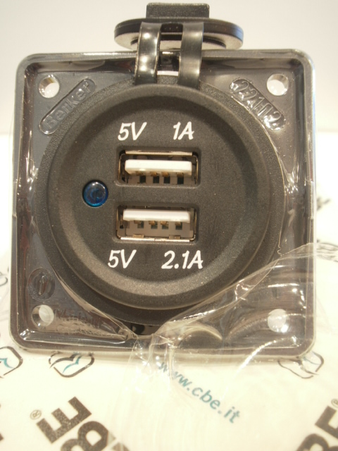 presa doppia usb 5v 1A+2,1A cbe bmp2usb/grigio